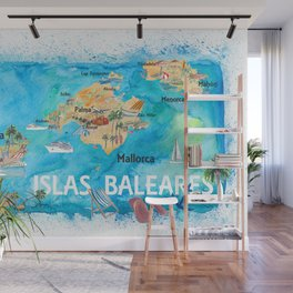 Balearic Islands Illustrated Travel Map with Majorca Ibiza Menorca Landmarks and Highlights Wall Mural