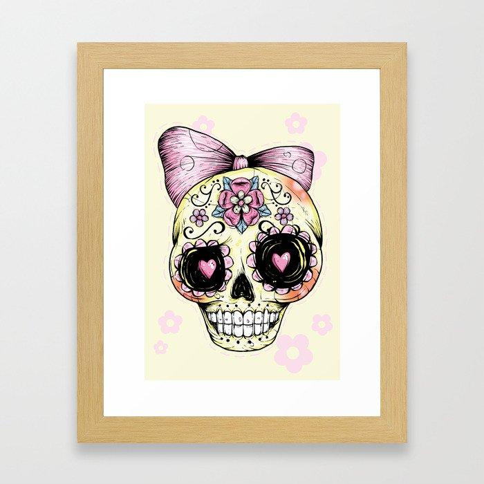 Sugar Skull (Yellow) Framed Art Print