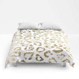 Modern white chic faux gold foil leopard print Comforters