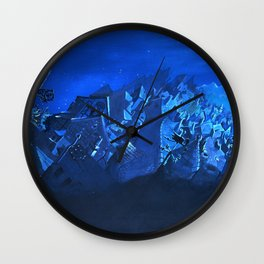 blue village Wall Clock