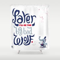 bad wolf Shower Curtains featuring Big Bad Wolf by Doud