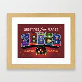 Greetings from Planet Zebes Framed Art Print