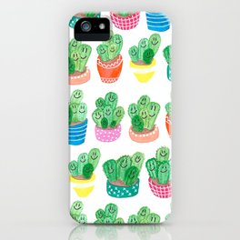 Cacti in fancy pots with smily faces. iPhone Case
