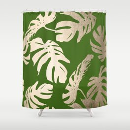 Palm Leaves White Gold Sands on Jungle Green Shower Curtain