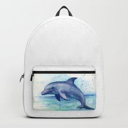 Dolphin Watercolor Sea Creature Animal Backpack