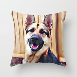 Happy German Shepherd Throw Pillow