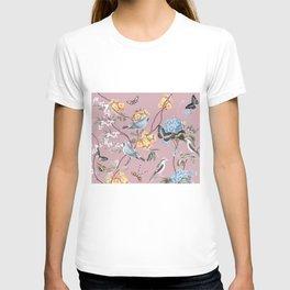BIRDS, BLOSSOMS & BUTTERFLIES BLUSH T-shirt