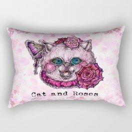 Cat and Roses Rectangular Pillow
