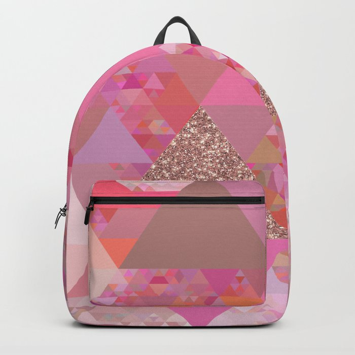 Triangles in glittering pink- glitter triangle pattern Backpack