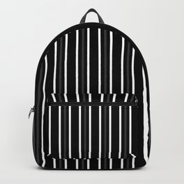 2 White 1 Dark Grey Three Stripes Pattern on Black | Vertical Stripes | Backpack