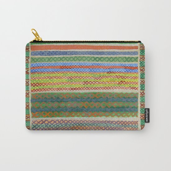 Colorful Stiches on Horizontal Colorful Stripes  Carry-All Pouch