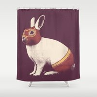 mucha Shower Curtains featuring Lapin Catcheur (Rabbit Wrestler) by Florent Bodart / Speakerine
