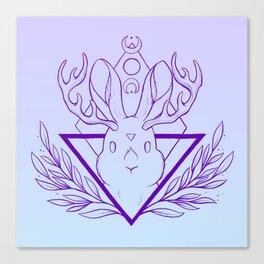 Lunar Rabbit / Jackalope // Purple Canvas Print