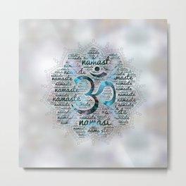 Labradorite Namaste Word Art in Lotus with OM symbol on pearl Metal Print
