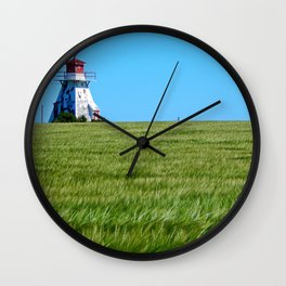 Lighthouse and the Crop Field Wall Clock