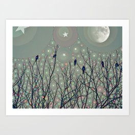 A Dawning with black birds lights on bare branches stars and gibbous moon  Art Print