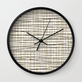 Line Art-Gold and Black Lines on White-Mix and Match with Simplicty of Life Wall Clock