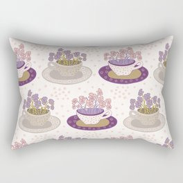 Pretty flower cup with bouquet of pansies pattern Rectangular Pillow