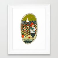 fishing Framed Art Prints featuring Fishing by Bex Bourne
