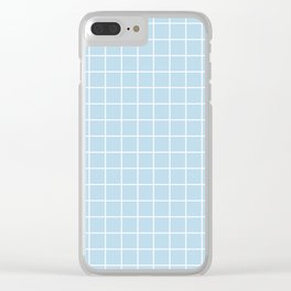 Columbia Blue - heavenly color - White Lines Grid Pattern Clear iPhone Case