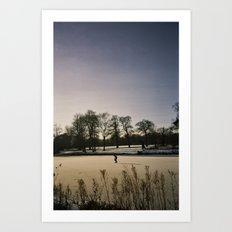Ice Skater, Blickling Lake, Norfolk Art Print