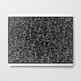 Smoky - white on black Metal Print