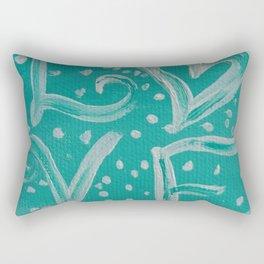 Teal Love Heart Rectangular Pillow