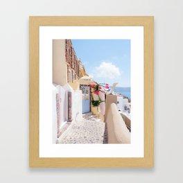 Charming Narrow Lane on Oia Santorini Greece Framed Art Print