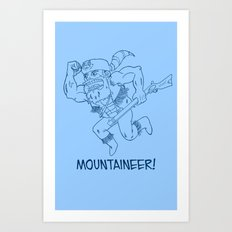 Mountaineer! (blue) Art Print