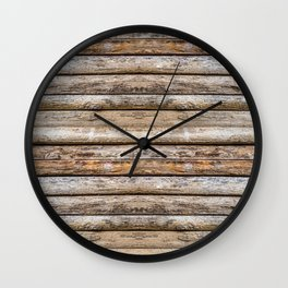 Wood Effects Raw Wood Log Cabin Lodge Rustic Wall Clock