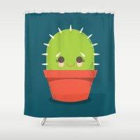 kawaii Shower Curtains featuring Kawaii Cactus Dude by Steph Dillon
