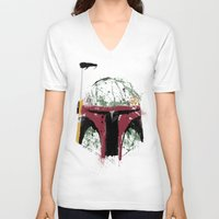 boba V-neck T-shirts featuring Boba by Purple Cactus