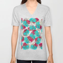 Abstract Aqua Blue Pink and Faux Gold Brushstrokes Unisex V-Neck