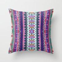 folk Throw Pillows featuring FOLK by Vasare Nar