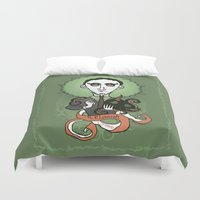 lovecraft Duvet Covers featuring Lovecraft Holy Writer by roberto lanznaster