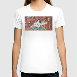 Toyohara Kunichikia - 1894 Japanese Print - Sword-Holder Among Flames T-shirt