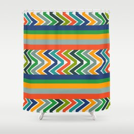 Multicolored stripes and waves Shower Curtain
