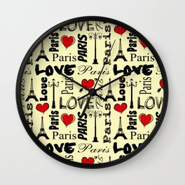 Paris text design illustration Wall Clock