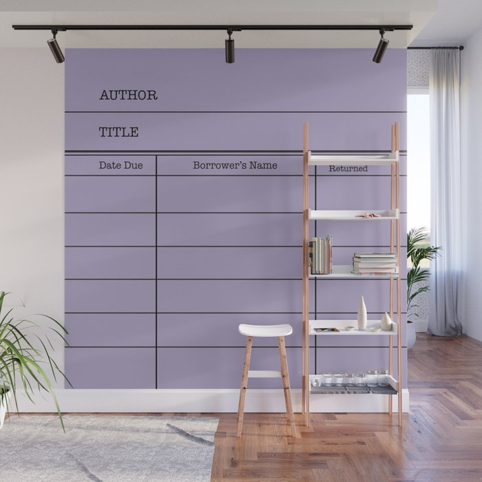LiBRARY BOOK CARD (violet) Wall Mural