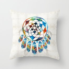 Native American Colorful Dream Catcher by Sharon Cummings Throw Pillow