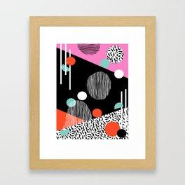 Mega Bulk - 80s style throwback retro pattern art memphis grid pattern minimalist 1980's Framed Art Print
