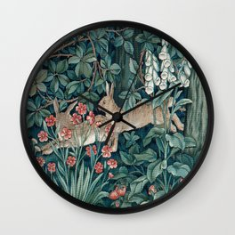 William Morris Forest Rabbits and Foxglove Greenery Wall Clock