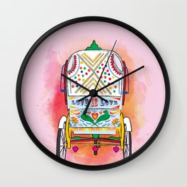 Indian Rickshaw Art 'Love is Love' Wall Clock