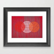 THREE BRICKS ON SPLINTERED WOOD  Framed Art Print