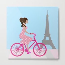 Cycling in Paris Girly Chic Metal Print