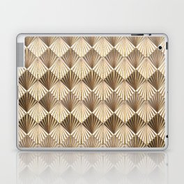 Facing Suns - Gold and White - Classic Vintage Art Deco Pattern Laptop & iPad Skin
