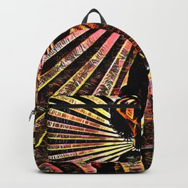 6058-KMA Abstract Nude Woman Bending Over in Red Black Backpack