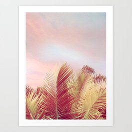 Pink Palms in the Breeze Art Print