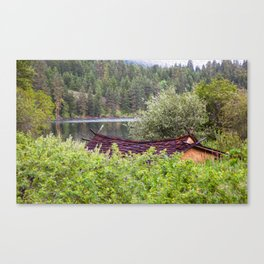 Little Cabin On A Lake Canvas Print