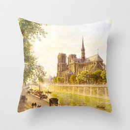 L'lle de la Cite and the Cathedral of Notre Dame, Paris from Quai Montebello by Firmin-Girard Throw Pillow